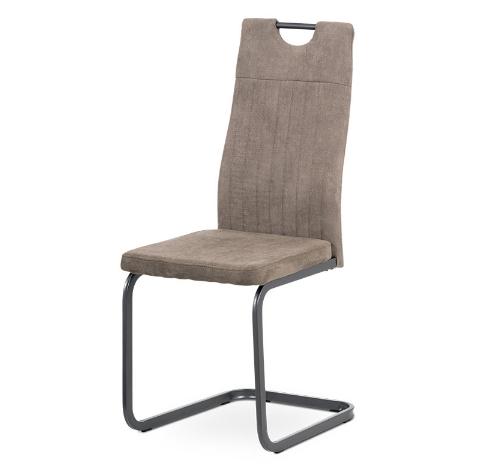 Autronic Jídelní židle DCL-462 LAN3 - lanýžová látka, šedý kov mat