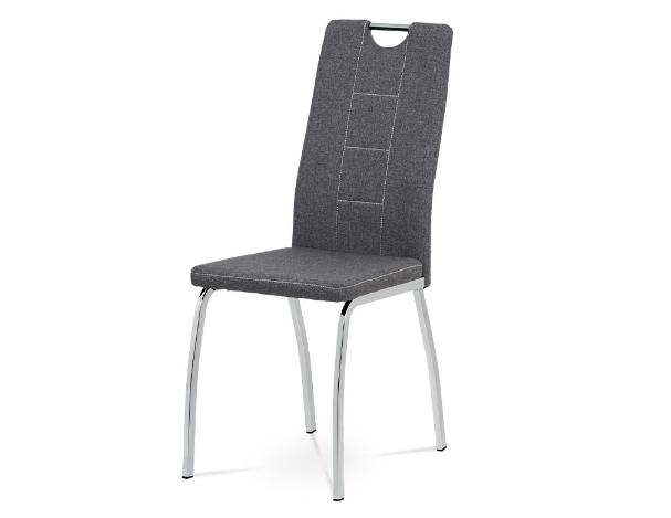 Autronic Jídelní židle DCL-466 GREY2 - šedá látka, kov chrom