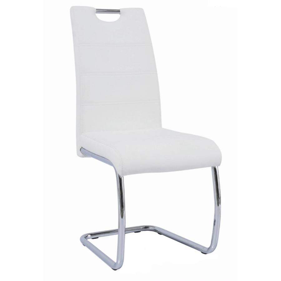 Tempo Kondela Jídelní židle ABIRA NEW - bílá ekokůže / chrom + kupón KONDELA10 na okamžitou slevu 3% (kupón uplatníte v košíku)
