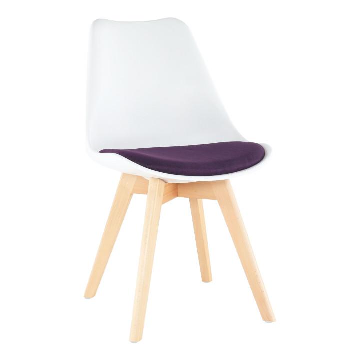 Tempo Kondela Židle DAMARA - bílá / fialová + kupón KONDELA10 na okamžitou slevu 3% (kupón uplatníte v košíku)