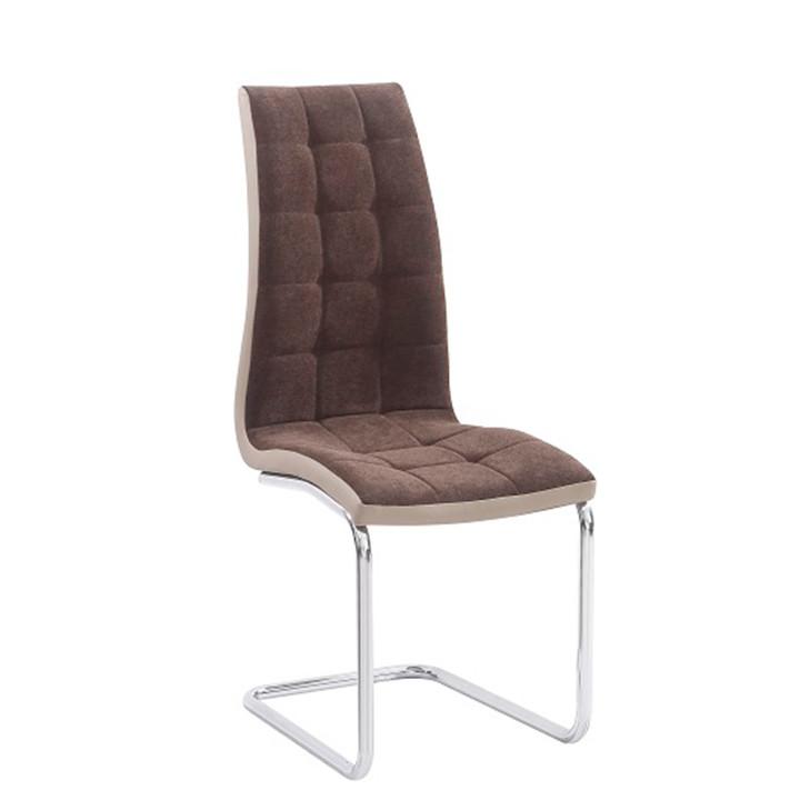 Tempo Kondela Jídelní židle SALOMA NEW, hnědá látka / ekokůže béžová / chrom + kupón KONDELA10 na okamžitou slevu 3% (kupón uplatníte v košíku)