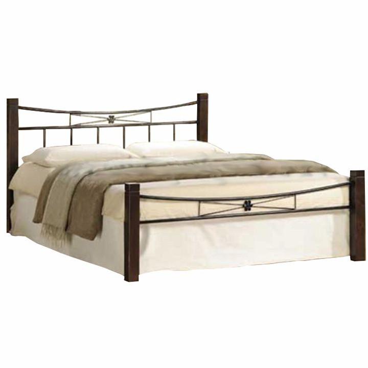 Tempo Kondela Kovová postel, dřevo ořech / černý kov, 140x200, Paula + kupón KONDELA10 na okamžitou slevu 3% (kupón uplatníte v košíku)