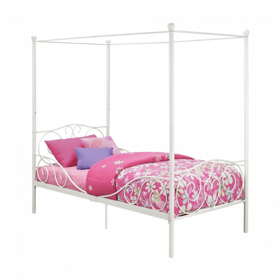 Tempo Kondela Kovová postel s nebesy, 90x200 cm ADELISA - bílá + kupón KONDELA10 na okamžitou slevu