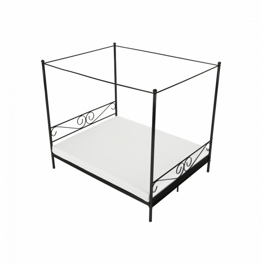 Tempo Kondela Kovová postel s nebesy, 160x200 cm ABENA - černá + kupón KONDELA10 na okamžitou slevu