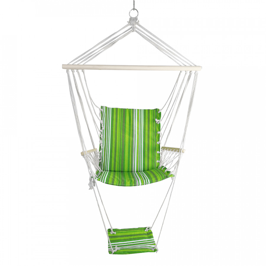 Tempo Kondela Závěsné houpací křeslo JAMBI, zelená/bílá + kupón KONDELA10 na okamžitou slevu 3% (kupón uplatníte v košíku)