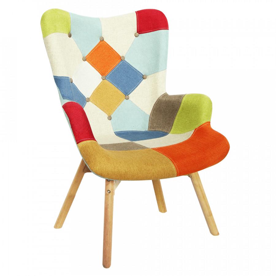 Tempo Kondela Designové křeslo KAPRUN - barevný patchwork + kupón KONDELA10 na okamžitou slevu 3% (kupón uplatníte v košíku)