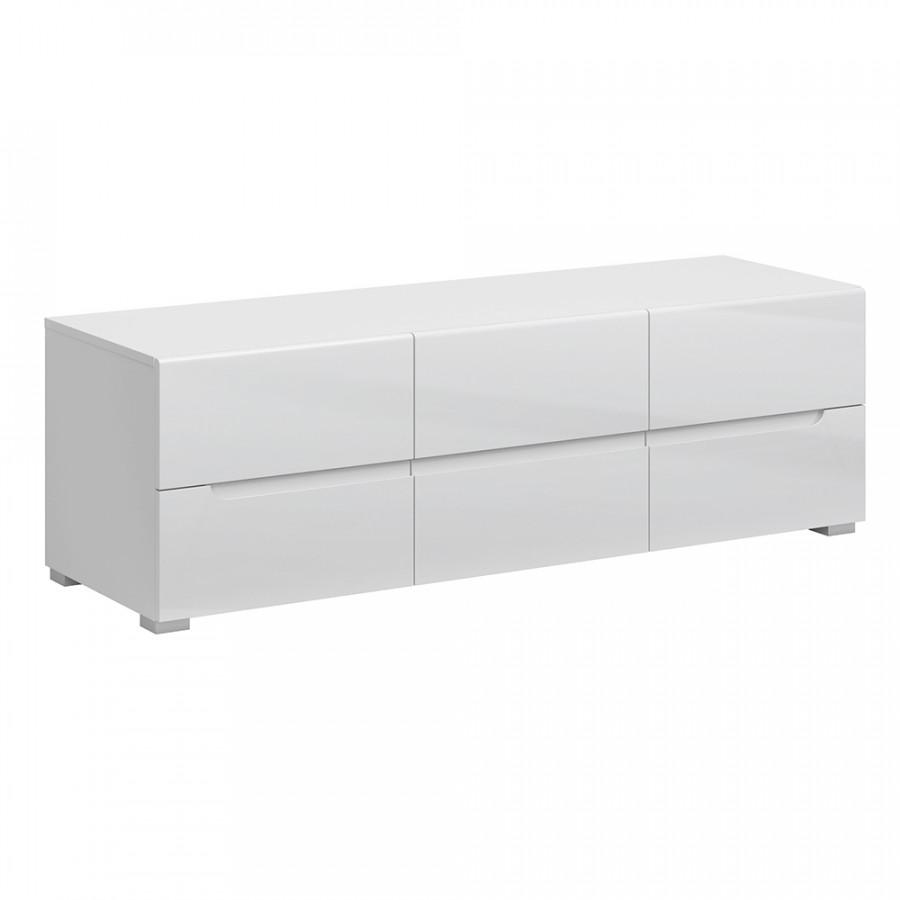 Tempo Kondela Televizní stolek JOLK 6S/140 - bílá extra vysoký lesk + kupón KONDELA10 na okamžitou slevu 3% (kupón uplatníte v košíku)
