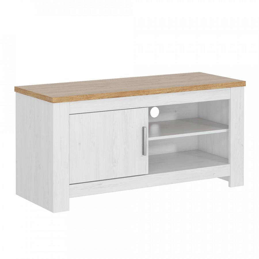 Tempo Kondela Televizní stolek RENE 118 - bílá/dub + kupón KONDELA10 na okamžitou slevu 3% (kupón uplatníte v košíku)