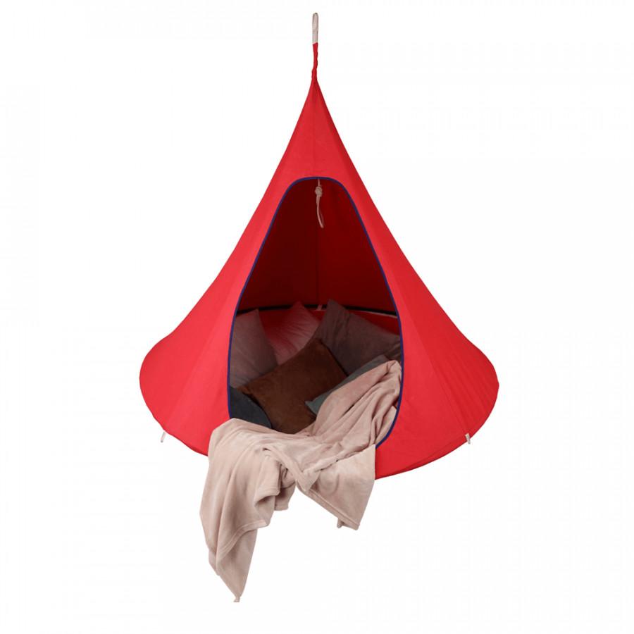 Tempo Kondela Závěsné houpací křeslo KLORIN NEW CACOON HAMMOCK, červená KLASIC + kupón KONDELA10 na