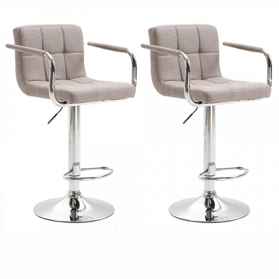 Tempo Kondela 2 kusy barové židle LEORA 2 NEW - šedohnědá/chrom + kupón KONDELA10 na okamžitou slevu 3% (kupón uplatníte v košíku)