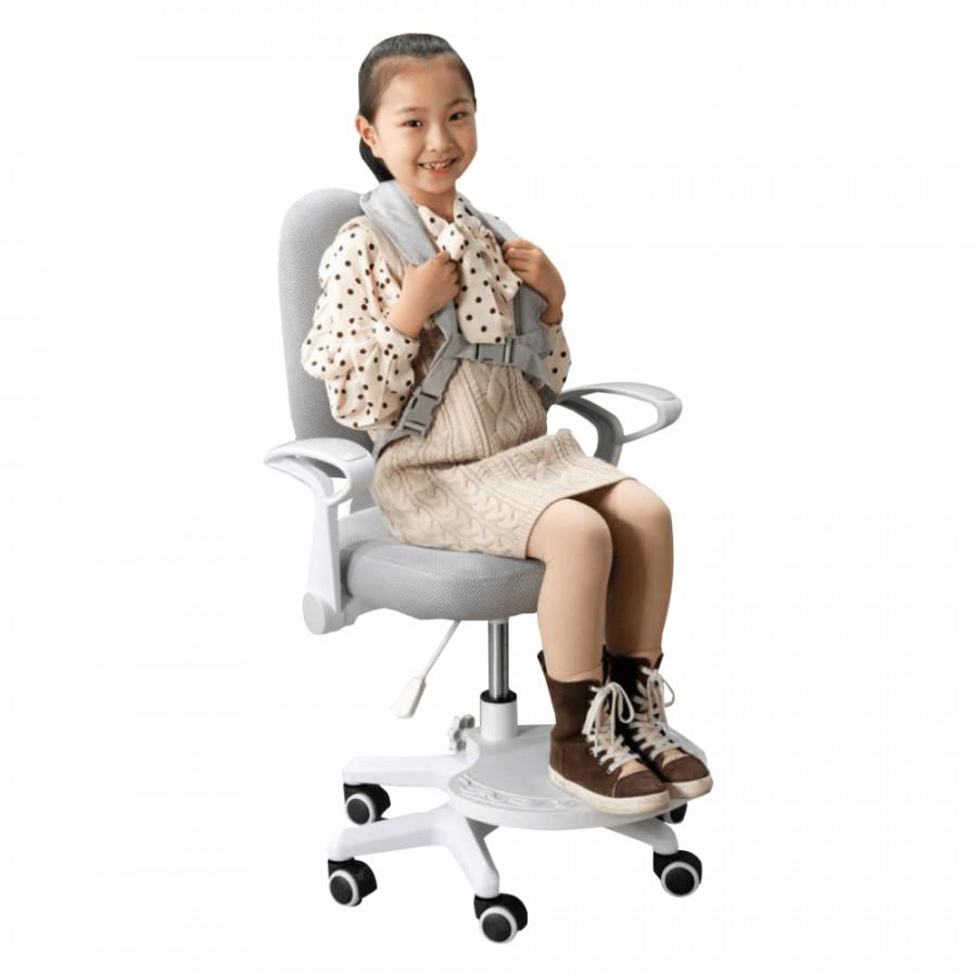 Tempo Kondela Rostoucí židle s podnoží a šlemi ANAIS - šedá/bílá + kupón KONDELA10 na okamžitou slevu 3% (kupón uplatníte v košíku)