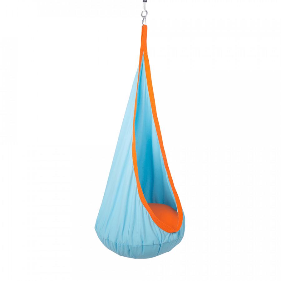 Tempo Kondela Závěsné houpací křeslo SIESTA TYP 1, modrá/oranžová + kupón KONDELA10 na okamžitou slevu 3% (kupón uplatníte v košíku)