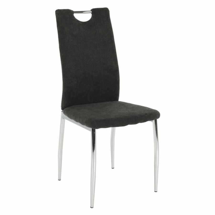 Tempo Kondela Jídelní židle OLIVA NEW - hnědošedá látka / chrom + kupón KONDELA10 na okamžitou slevu 3% (kupón uplatníte v košíku)
